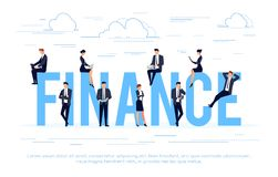 Finance. Business concept in a flat style with businessmen using. Smartphones and laptops. Vector illustration Stock Photography