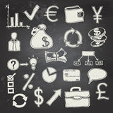 Finance and business doodle on blackboard. Vector hand-drawn financial icons on a black chalkboard Royalty Free Stock Photos