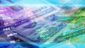 Global economy, finance, business, invest wallpaper. Finance, business, economy, invest  wallpaper. Stock market data at background of 100 dollar bills and Stock Photography