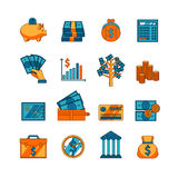 Finance business flat icons set. Electronic and traditional methods of money saving  deposit and transfer flat icons set abstract vector  illustration Royalty Free Stock Images