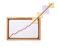 Finance business graph on corkboard economy royalty free stock photos