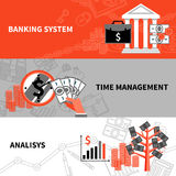 Finance business horizontal flat banners set. International banking system financial analysis and time management 3 flat horizontal banners set abstract vector Stock Photography