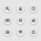 Finance and business  icon set in button frame. / can be used for infographics /graphic or website button layout Stock Photo