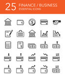 Finance and Business Icons Set. 25 Essential Finance and Business Icons Set Stock Photo