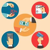Finance and business illustration. Vector icons in flat retro style finance and business illustration Stock Photo