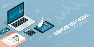 Finance and technology. Finance, business and innovative technology: financial apps and services on laptop and mobile devices Royalty Free Stock Image