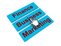Finance business marketing graphic. Red on blue boxes with the management buzzwords Finance, Business, Marketing and a hand cursor or pointer hovering over them Royalty Free Stock Photos