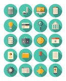 Finance and business modern icons set. Vector set of colorful icons in modern flat design style with long shadow effect on financial and business theme. Isolated Royalty Free Stock Photography