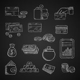 Finance, business and money chalk icons. Of dollar bills and golden coins, stack of gold bars, wallet, money bag, bank credit cards and financial report on Royalty Free Stock Photo