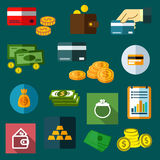 Finance, business and money flat icons Royalty Free Stock Photos