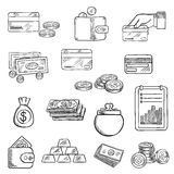 Finance, business and money icons sketches. Finance, business and money flat icons of dollar bills and golden coins, stack of gold bars, wallet, money bag, bank Royalty Free Stock Images