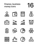 Finance, business, money icons for web and mobile design pack 1. 16 line black and white vector icons Royalty Free Stock Photo