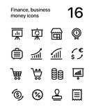 Finance, business, money icons for web and mobile design pack 4 Royalty Free Stock Images
