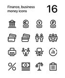 Finance, business, money icons for web and mobile design pack 3. 16 line black and white vector icons vector illustration