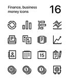 Finance, business, money icons for web and mobiledesign pack 2. 16 line black and white vector icons Royalty Free Stock Photography