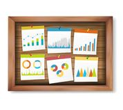 Finance business notes and stat graph on wooden board. royalty free stock images