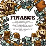 Finance business poster with money sketch frame. Finance poster with money sketch frame. Cash currency business poster with dollar bill stack and pile of gold Royalty Free Stock Photography