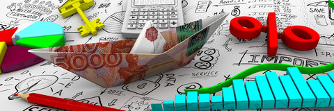 Finance. Business still life. Paper boat from an Russian banknote ruble, charts, electronic calculator, a red pencil, red symbol of percent, round diagram and Royalty Free Stock Photography