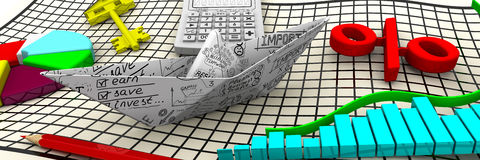 Finance. Business still life. Paper boat from a sheet with business sketches, charts, electronic calculator, a red pencil, red symbol of percent, round diagram Stock Photo