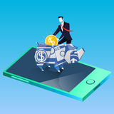 Finance and business success concept vector illustration in flat design. Vector illustration of businessman putting coin into rhino money box, standing on mobile Stock Photography