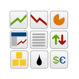 Stock market trading online icons. Illustrated small icon set for finance, stock markets, business and economy Royalty Free Stock Image
