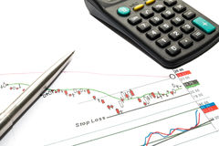Finance calculation. Money, coins calculator and finance Stock Image