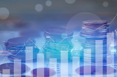 Finance, capital banking and investment concept, Double exporsur. Finance, capital banking and investment concept, Double exposure Stock Photos