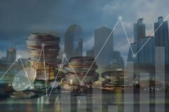 Finance, capital banking and investment concept, Double exporsur. Finance, capital banking and investment concept, Double exposure Royalty Free Stock Photography