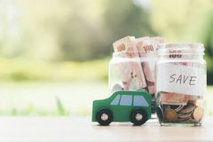 Finance and car loan saving money for a car royalty free stock images