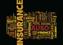 Finance Career Auto Insurance Quote Text Background Word Cloud Concept Royalty Free Stock Photos