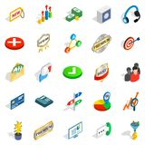 Finance center icons set, isometric style. Finance center icons set. Isometric set of 25 finance center vector icons for web isolated on white background Royalty Free Stock Image