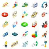 Finance center icons set, isometric style Royalty Free Stock Image