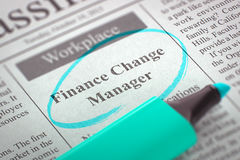 Finance Change Manager Join Our Team. 3D Render. Royalty Free Stock Image