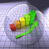 Finance Chart with Arrow in Glass Ball. On Glossy Background Stock Photos