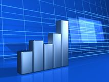 Finance chart background. Silver financial chart on blue background Royalty Free Stock Images