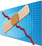 Finance chart with bandaid. A downwards financial business chart with a bandaid on top indicating a fix Royalty Free Stock Image