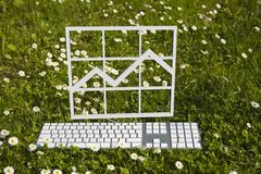 Finance chart diagram in garden Stock Photo