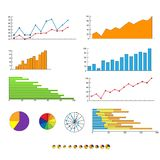 Finance chart graphics diagram set vector Stock Photography