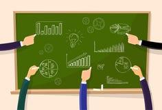 Finance Chart Graphics Hand Chalk Draw Green Board. Vector Illustration Stock Photos