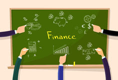 Finance Chart Graphics Hand Chalk Draw Green Board. Vector Illustration Royalty Free Stock Image