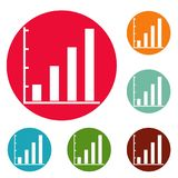 Finance chart icons circle set vector. Isolated on white background Stock Images