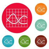 Finance chart icons circle set vector. Isolated on white background Royalty Free Stock Image