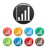 Finance chart icons set collection circle. Finance chart icons set in simple style many color circle isolated on white background Royalty Free Stock Image