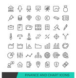 Finance and Chart Linear line icons Stock Images
