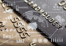 Finance charts and credit card Stock Images