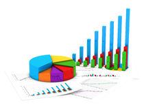 Finance charts. 3D illustration of financial diagram and pie chart with sheets of report Stock Photos