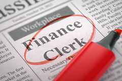 Finance Clerk Join Our Team. 3D. Finance Clerk - Small Ads of Job Search in Newspaper, Circled with a Red Marker. Blurred Image with Selective focus. Job Stock Image