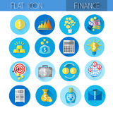Finance Collection Colorful Financial Icon Set. Flat Vector Illustration Stock Photo
