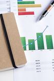 Finance color graphics with a pen and shedule papers. Royalty Free Stock Photography