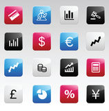 Finance color icons. Vector Finance color icons. Red, blue, gray, black Stock Photos